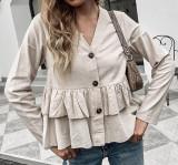 R.Vivimos Women's Summer Sleeveless V Neck Button Up Ruffles Cotton Blouse Tops