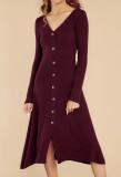 R.Vivimos Women's Winter Cotton Long Sleeves V-Neck Casual Button Down Knit Sweater Midi Dress
