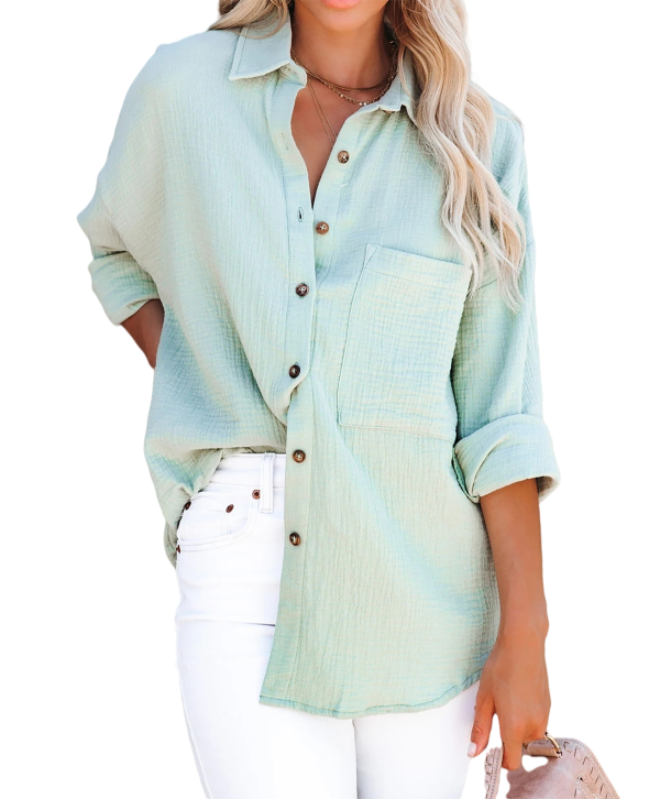 R.Vivimos Women's Fall Cotton Long Sleeve Oversized Loose Casual Button Down Shirts Blouses with Pocket