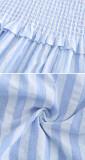 R.Vivimos Women's Summer Dress Cotton Adjustable Straps Boho Ruffled Stripe Causal Flowy Midi Dress with Pockets