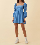 R.Vivimos Women's Fall Puff Long Sleeve Square Neck Casual Ruched A line Mini Dress