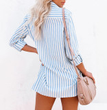 R.Vivimos Women's Fall Cotton Long Sleeves Roll Up Striped Casual V Neck Button Down Shirts Blouses