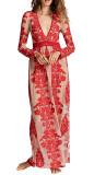 R.Vivimos Women's Long Sleeve V Neck Floral Embroidered Elegant A-Line Maxi Dress