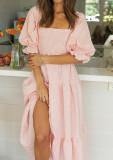 R.Vivimos Women's Summer Cotton Plaid Puff Sleeves Bow Casual Off-Shoulder Boho Midi Dress