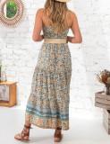 R.Vivimos Womens Summer Cotton Floral Print Strapless Boho Beach Casual Midi Tube Dresses