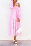R.Vivimos Summer Dress for Women Long Sleeve Casual Plaid Print Smocked Off Shoulder A-Line Midi Dress
