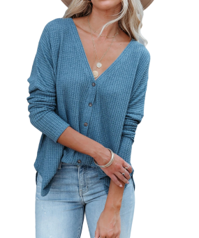 R.Vivimos Womens Fall Tops Casual Long Sleeve V Neck Knitted Loose Fit Button-Down Blouses