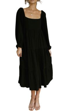 R.Vivimos Women's Fall Cotton Lantern Long Sleeve Square Neck Casual Backless Boho Midi Dress