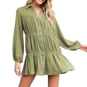 R.Vivimos Womens Fall Winter Cotton Puff Long Sleeve Ruched Casual Button-Down Swing Shirt Mini Dress