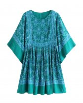R.Vivimos Women's Summer Cotton Half Sleeve Casual Loose Bohemian Floral Tunic Dresses
