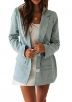 R.Vivimos Women's Fall Long Sleeve Linen Casual Basic Thin Coat Blazer