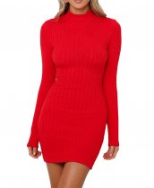 R.Vivimos Women's Winter Long Sleeve Slim Turtleneck Knit Sweater Dress