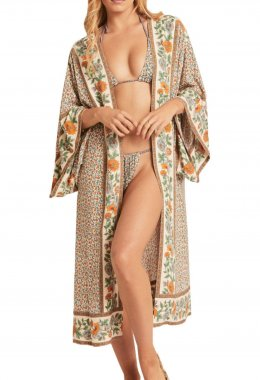 R.Vivimos Women's Vintage Floral Print Beach Boho Cardigan Kimono Maxi Swimwear Cover up Dress Wrap