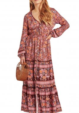 R.Vivimos Women Spring Long Sleeve V Neck Floral Print Buttons Up Casual Long Dresses