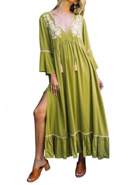 R.Vivimos Womens Casual Dresses V Neck Floral Embroidered Bell Sleeve Beach Style Long Maxi Dress