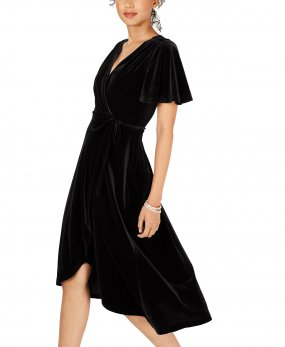 R.Vivimos Womens Velvet Pleated Wrap Tie Waist Elegant Flowy Party Plus Size Midi Dresses