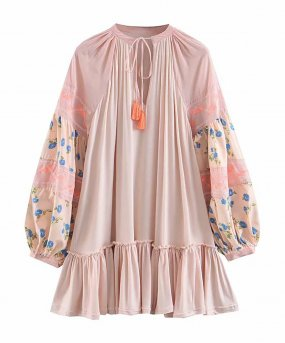 R.Vivimos Women's Autumn Cotton Long Sleeve Ruffles Embroidery Mini Short Dress