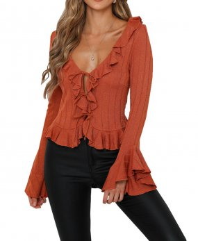 R.Vivimos Women's Fall Long Sleeve Ruffles Cardigan Knitted Sweater Tops