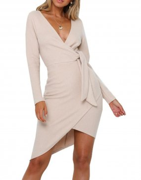 R.Vivimos Women's Winter Long Sleeve V Neck Asymmetrical Knit Sweater Dresses