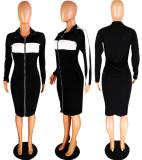 Black Zipper Full Sleeve Midi Dress YMT-6029