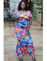 Floral Ruffles Slash Neck Maxi Dress MYP-8817