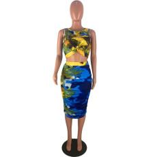 Sexy Printed Sleeveless Bodycon Two Piece Midi Skirt Set GS-1012