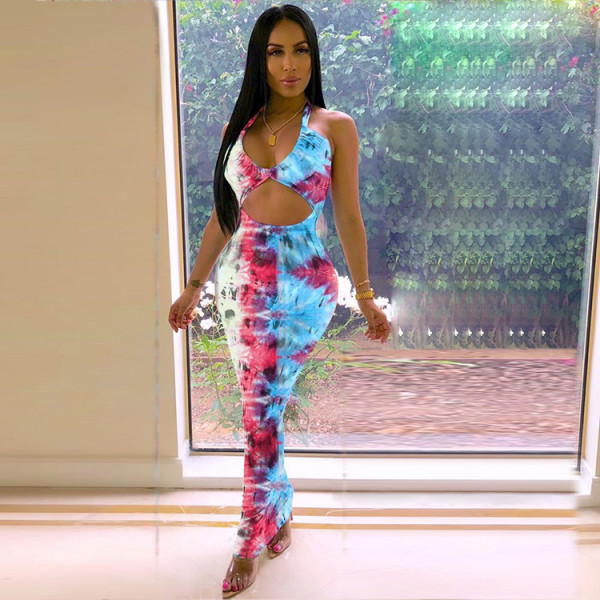 Sexy Tie Dye Print Halter Backless Slim Maxi Dresses KSN-5035