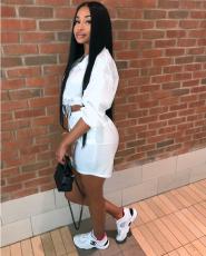 White Full Sleeve Crop Top Mini Skirt Set YM-9043