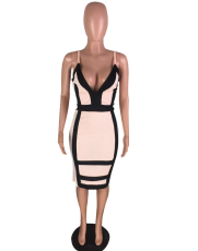 Pink Deep-V Bodycon Midi Dress WZ-8099