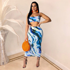 Sleeveless Top With Long Skirt 2 Piece Set TE-3687
