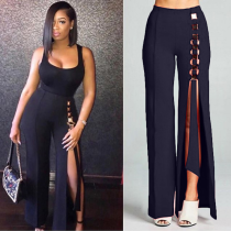 Black High Waist Front Split Wide Leg Pants BN-9115