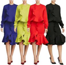 Elegant Ruffles Long Sleeve Tops And Skirt Set LS-0238