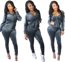 Gray Velvet Pearl Tracksuit Two Piece Set CM-274