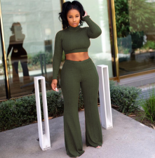 Solid 2pcs Crop Tops And Wide Leg Pants Set ASL-6072