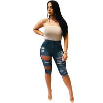 Casual Denim Holes Jeans Half Length Pants MEM-8208