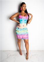 Sexy Tie Dye Print Straps Mini Dresses ORY-5111