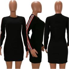 Black Striped Long Sleeve Mini Dress HM-6024