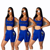 Letter Print Tank Tops And Shorts Fitness Two Piece Set YMT-6095
