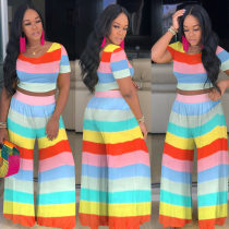 Colorful Stripe Short Sleeve Crop Top Wide Leg Pants Set MTY-6197