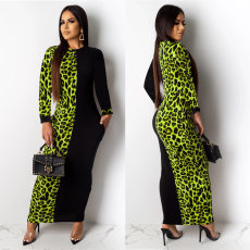 Leopard Print Patchwork Long Sleeve Maxi Dresses ML-7239