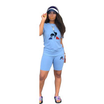 Casual Printed T Shirt Top Shorts 2 Piece Sets BN-9177