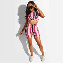 Colorful Striped Short Sleeve Two Piece Short Set AWN-5027