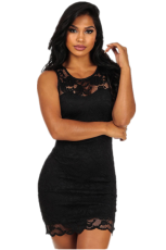 Lace Black Sleeveless Bodycon Mini Dress LX-6931