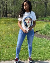 White Cartoon Print Short Sleeve Round Neck T Shirt MA-172