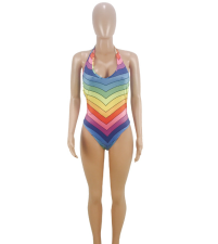 Rainbow Stripe Halter Backless Swimsuits CQ-5080