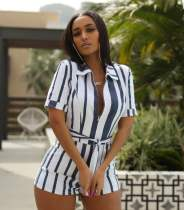 Plus Size Stripe Short Sleeve Rompers HM-6094