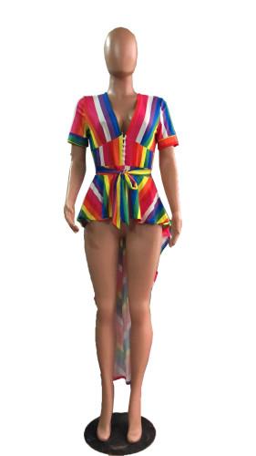 Wholesale Rainbow Striped Short Sleeve High Low Irregular Tops Cq 5207 Df