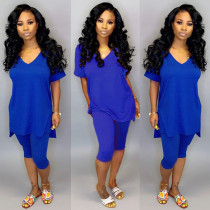 Blue V Neck High Low Tops And Shorts Two Piece Sets YH-5078