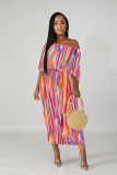 Colorful Stripes Batwing Sleeve Sashes Long Dresses NK-8456