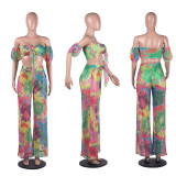 Sexy Tie Dye Print Grid Tie Up Crop Tops And Pants Suits FSL-039